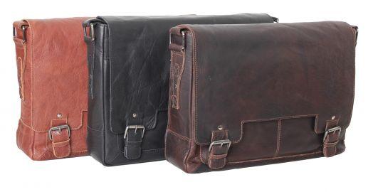 Сумка мужская горизонтальная Ashwood Leather Kingston 8343 Tan
